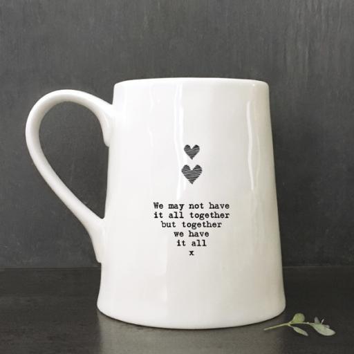 Porcelain Mug Hearts & Kisses By East Of India