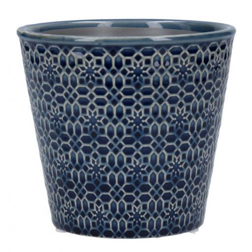 Navy Mosaic Ceramic Plant Pot