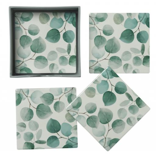 Set Of 4 Ceramic Eucalyptus Leaves Design Coasters
