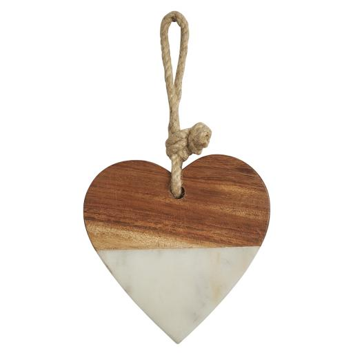 Marble & Wood Hanging Heart Decoration