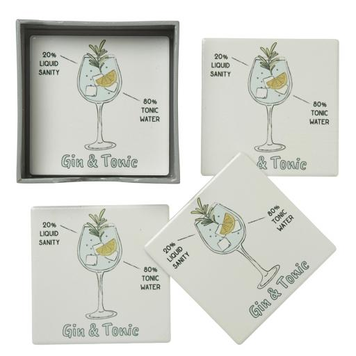Set of 4 Ceramic Gin And Tonic Coasters