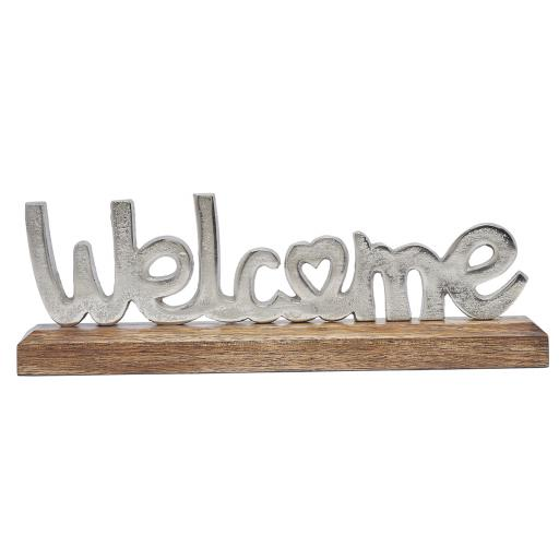 Silver Metal Welcome On Wooden Base