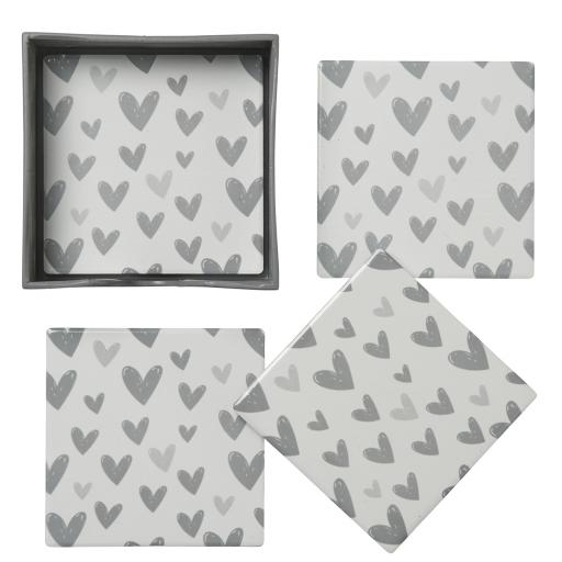 Set Of 4 Ceramic Heart Design Coasters