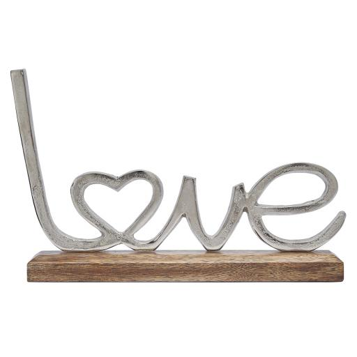 Giant Silver Metal Love On Wooden Base