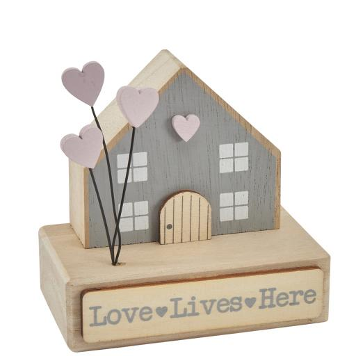 Love Lives Here Wooden House On Base