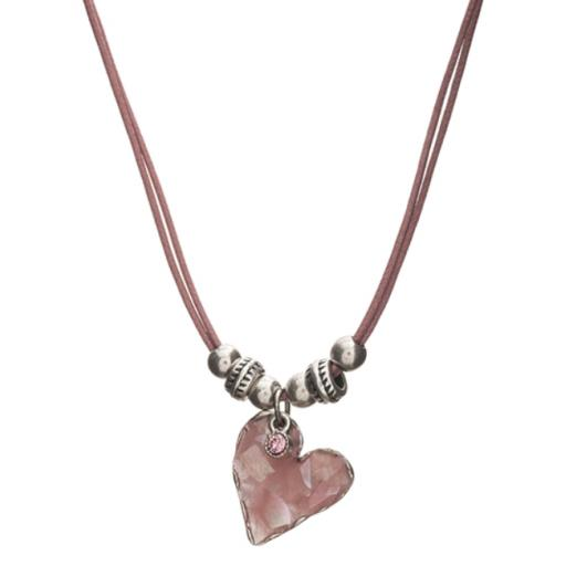 Anais Pink Enamel Heart Necklace