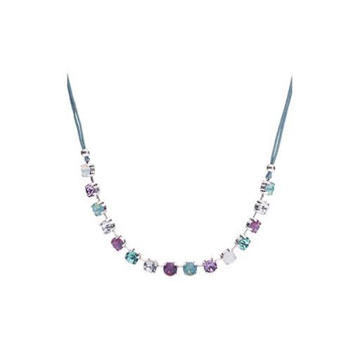 Genevieve Opal Turquoise & Cyclamen Diamante Necklace