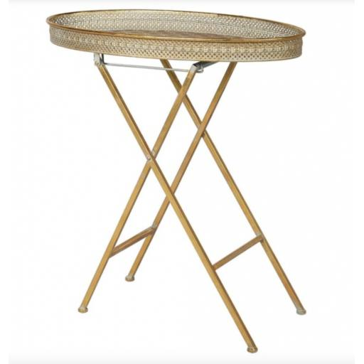 Metal Oval Folding Tray Table