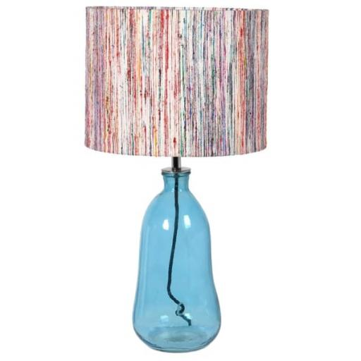 Blue Glass Lamp With Striped Silk Shade