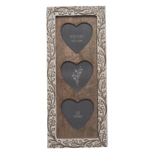 Carved Wooden Floral Triple Heart Frame.