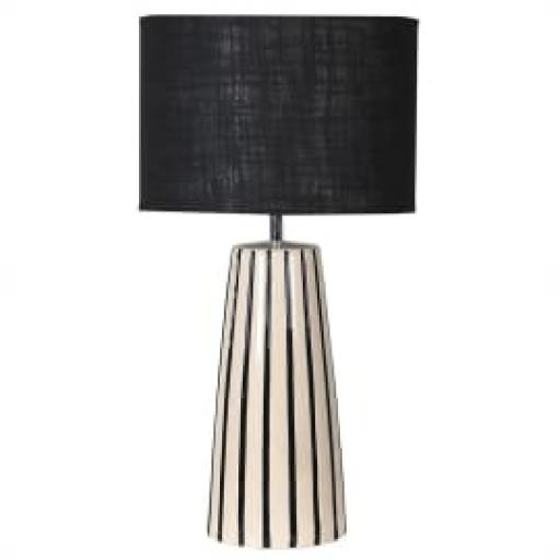 Black & Cream Stripe Lamp & Shade