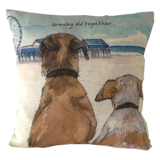 Two Dogs Growing Old Together Cushion