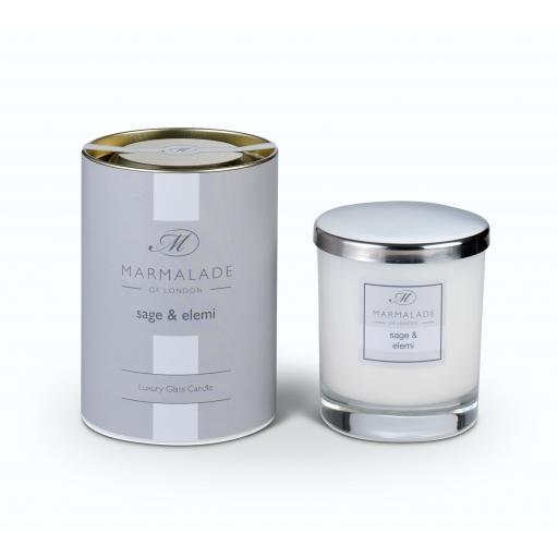 Sage & Elemi Large Glass Candle By Marmalade