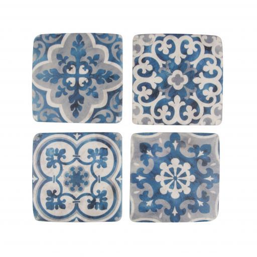 Set Of 4 Blue Mosaic Santorini Coasters