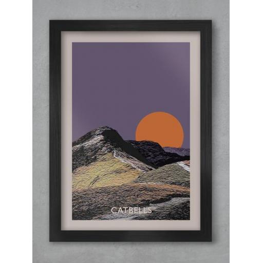Catbells Sunset A3 Framed Print