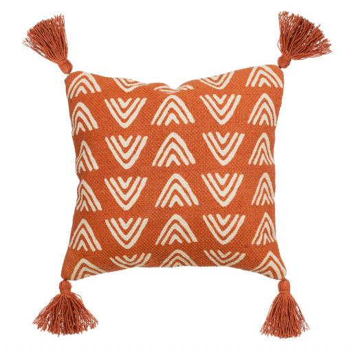 Terracotta Triangles Block Print Cushion