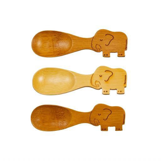 Set Of 3 Bamboo Elephant Spoons