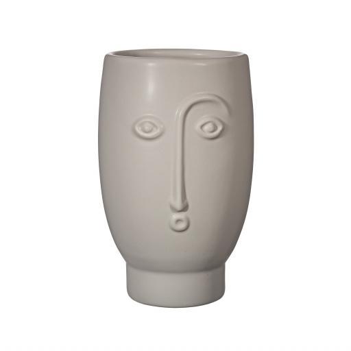Matt Grey Face Vase