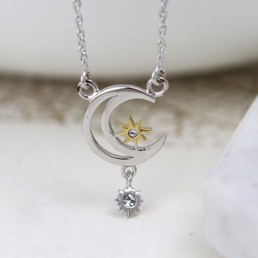 Peace Of Mind Sterling Silver & Gold Plated Crescent Moon & CZ Star Necklace
