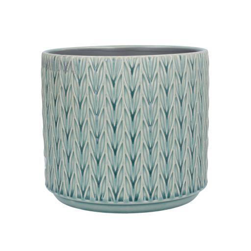 Blue Staghorn Design Ceramic Planter