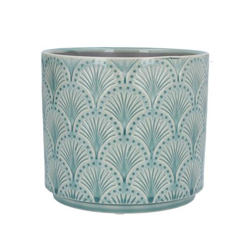 Blue Arches Retro Design Ceramic Planter