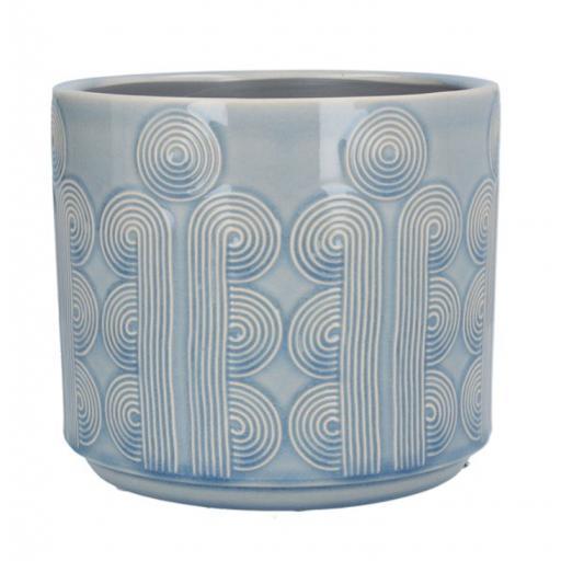 Sky Blue Retro Circles Ceramic Planter