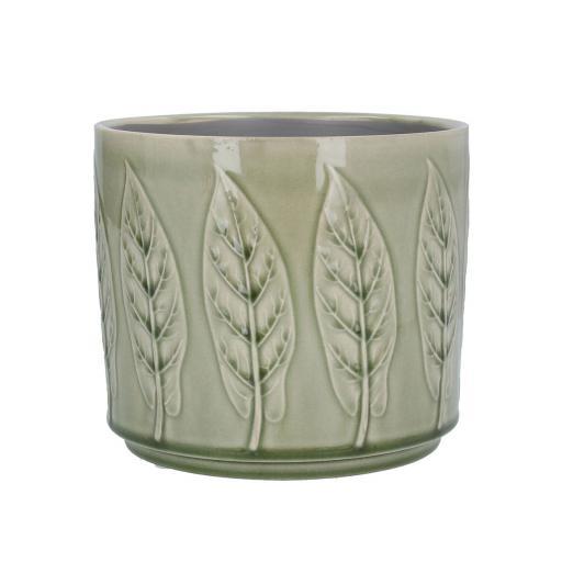 Sage Bay Leaf Design Ceramic Planter