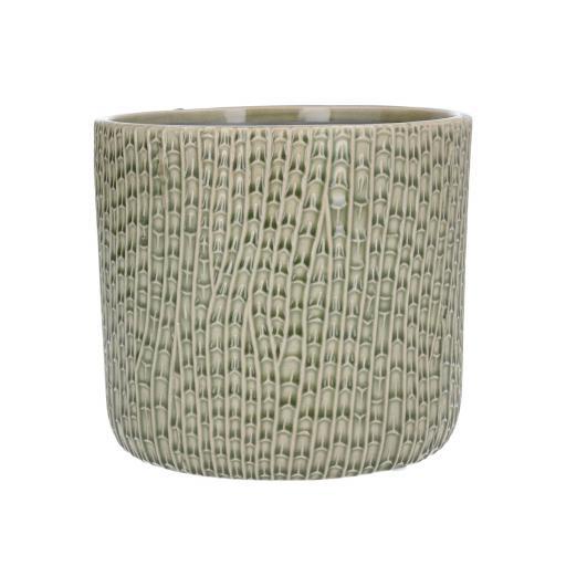 Sage Horsetail Design Ceramic Planter