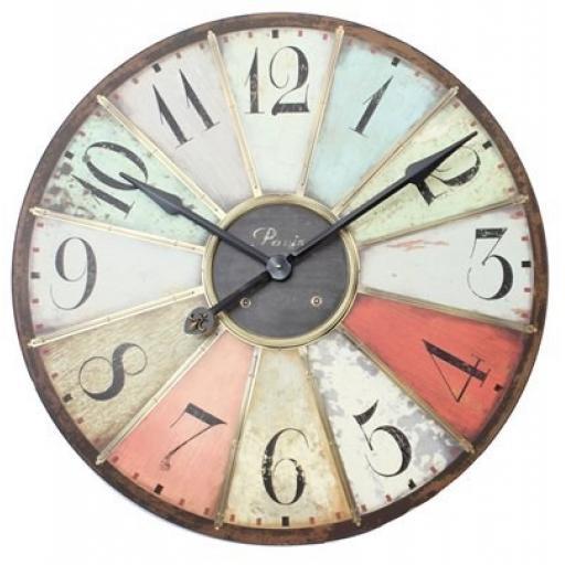 Large Multicoloured Retro Wall Clock