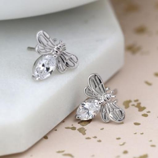 Peace Of Mind Silver Bee Earrings With CZ Crystals