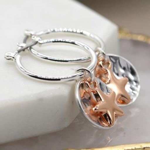 Peace Of Mind Silver Plated Hoop Earrings With Disc & Rose Gold Star
