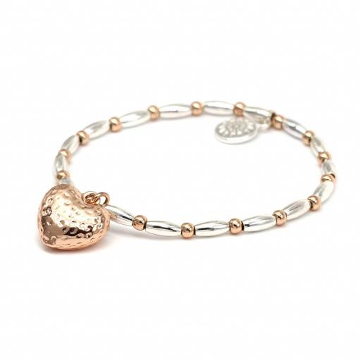 Peace Of Mind Silver Plated & Rose Gold Plated Heart Bracelet